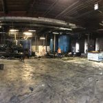 Panoramic picture of site during facility demolition